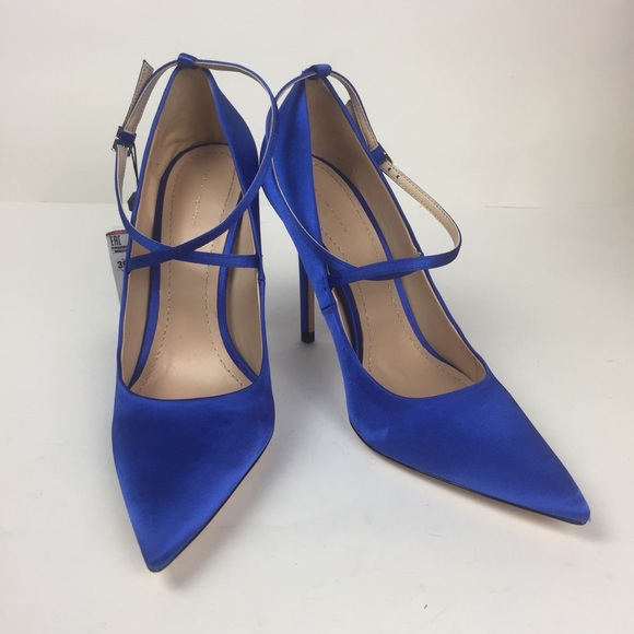195eb5efb19 New Zara Blue Satin Pumps Heels 39 Euro 8 US